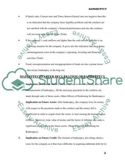 Bankruptcy essay example