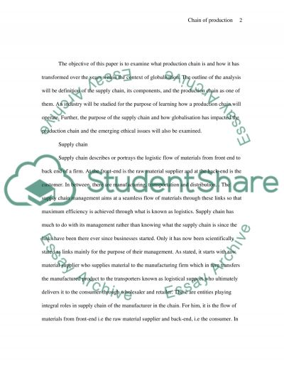 Production Chain and Globalization essay example