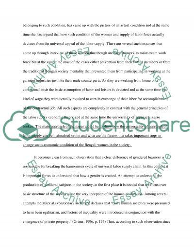 Labor supply theory essay example