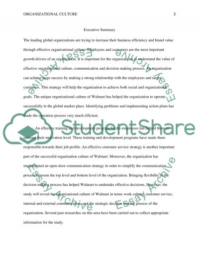 Organizational Culture Research Paper example