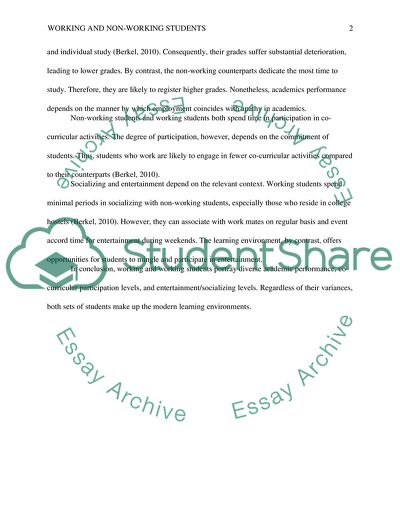 Working And Non-working Students Essay Example | Topics And Well Written  Essays - 250 Words