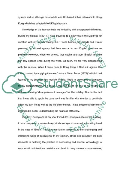 Personal Statement for the University