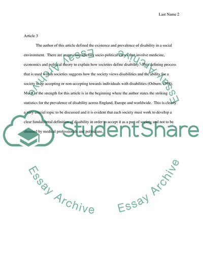 Current issues in disabilities studies Activity1