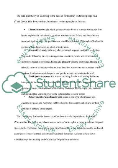 Contingency Perspective Of Leadership essay example