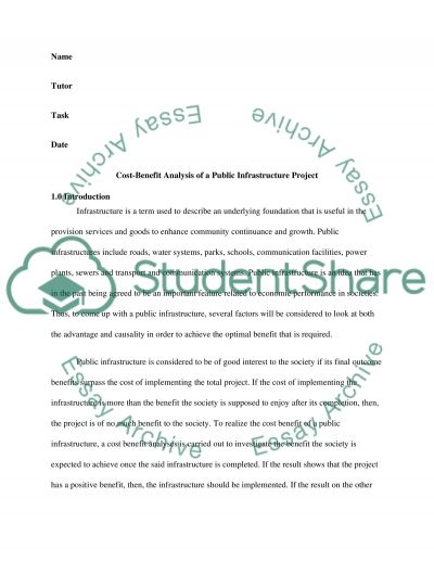 Cost-Benefit Analysis of A Public Infrastructure Project essay example