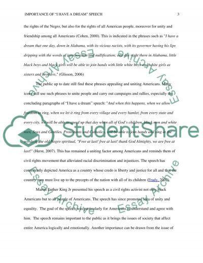 importance of i have a dream speech essay example