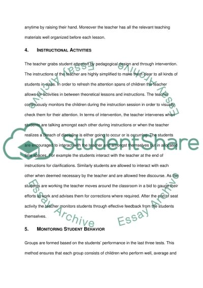 Field classroom description essay example
