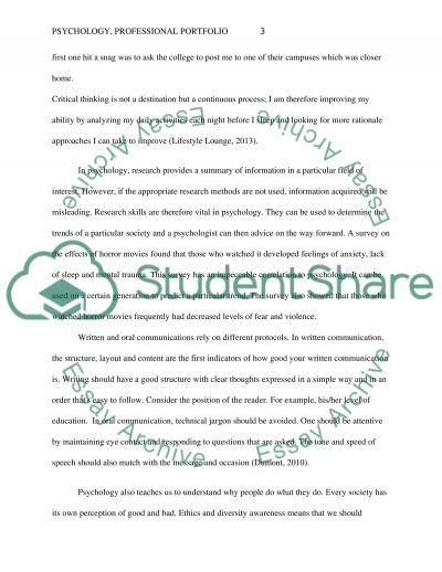 professional portfolio essay example - Portfolio Essay Example