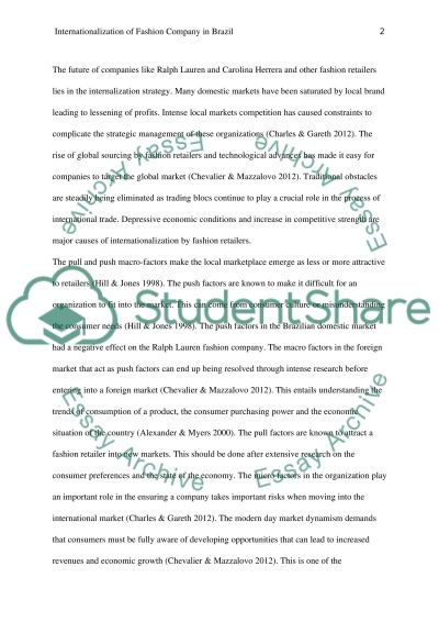 Internationalisation of Fashion Company in Brazil essay example