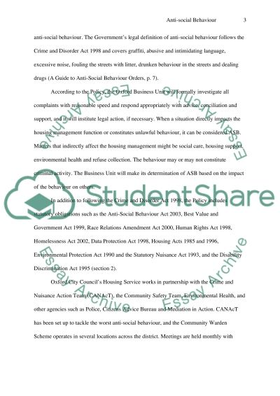 ASBO POLICY essay example