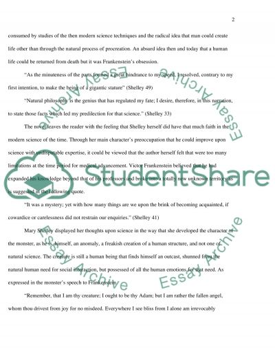 Frankenstein by Mary Shelly essay example