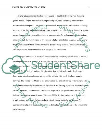 Higher Education Curriculum essay example