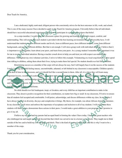 Teach for America Letter of Intent