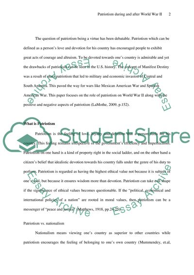 Patriotism During And After World War Ii Essay Example  Topics And  Patriotism During And After World War Ii  Essay Example