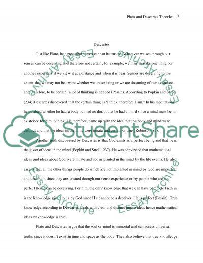 Plato and Descartes theories essay example