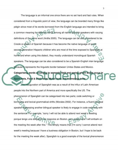 Spanish Loan words/English to Spanish codeswitching using COHA essay example