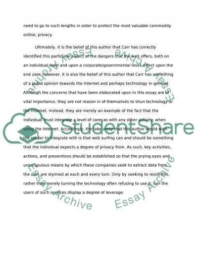 the shallows agreement and partial disagreement nicholas   internet privacy essay example text preview