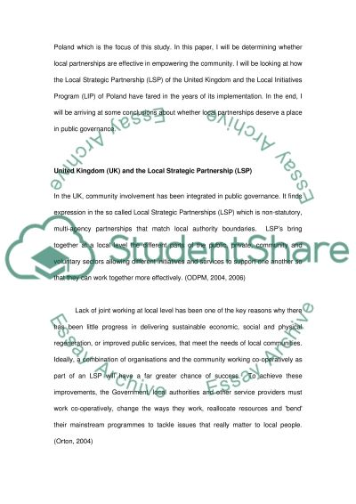 Local Partnerships in Community Empowerment essay example