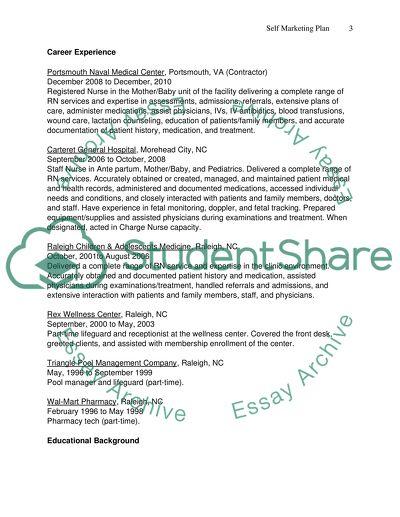 Professional Portfolio And Self Marketing Plan Term Paper