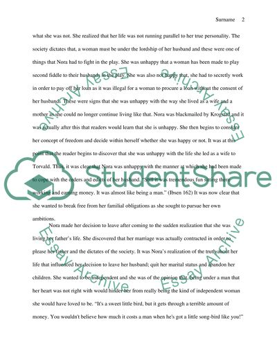 A Doll S House Play Essay Example Topics And Well Written Essays
