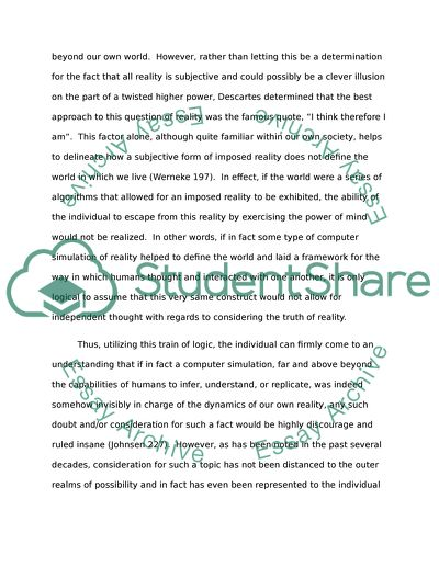 First Term Paper - Why I know I am not in the Matrix