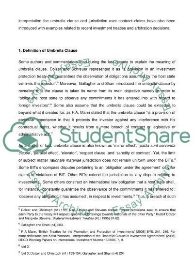the interpretation of umbrella clause in investment treaties essay the interpretation of umbrella clause in investment treaties essay example