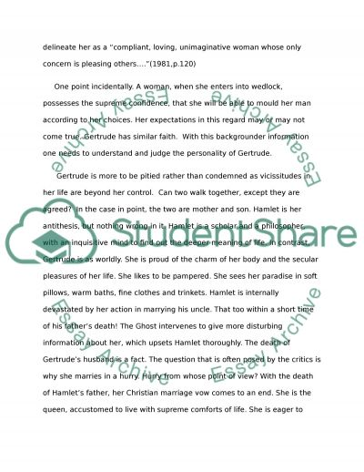 Essay for Hamlet-Character Analysis essay example