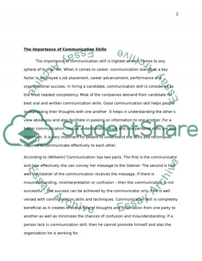 communication skills Research Paper example