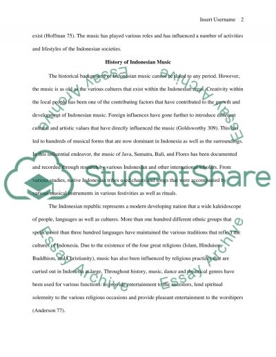World Culture Music Research Paper. Indonesian Music essay example