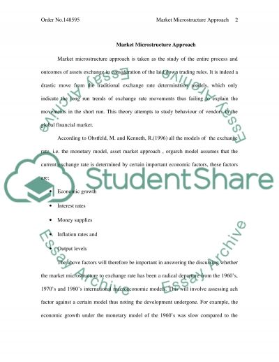 Market Microstructure Approach essay example
