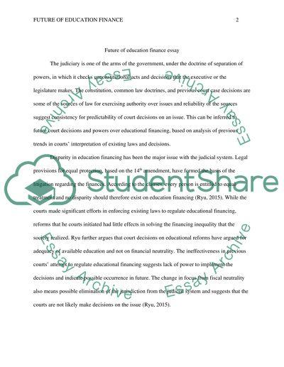 Future of Education Finance Essay
