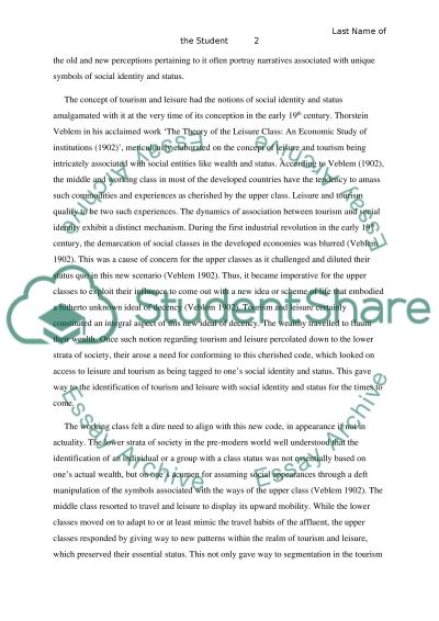 TOURISM - LEISURE AND SOCIETY essay example