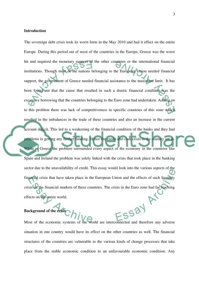 the impact of the crisis Essay example
