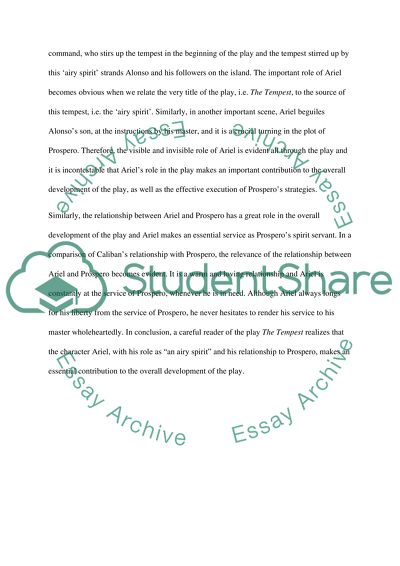 Correct Essay Online Airel In The Tempest How To Write A Conclusion Essay also Change Management Essay Airel In The Tempest Essay Example  Topics And Well Written Essays  Argumentation Essay Examples