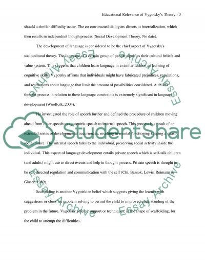 Educational relevance of Vygotskys theory essay example