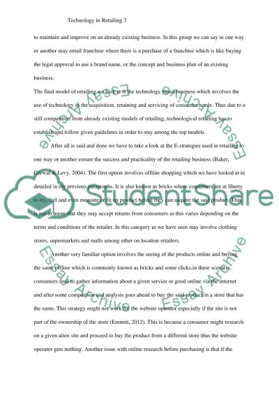 Technology in retailing essay example