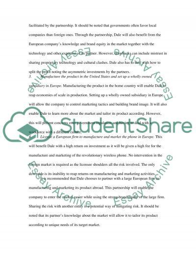 International ManagementCase Study and Set the strategies essay example