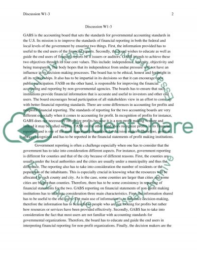 Discussions W1-3 essay example