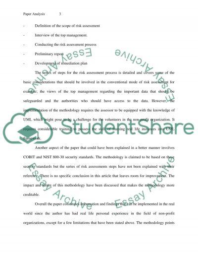 Risk Assessment essay example
