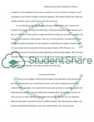 Planning Lessons and Assessment in Schools essay example