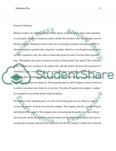 Marketing Plan For NCR essay example