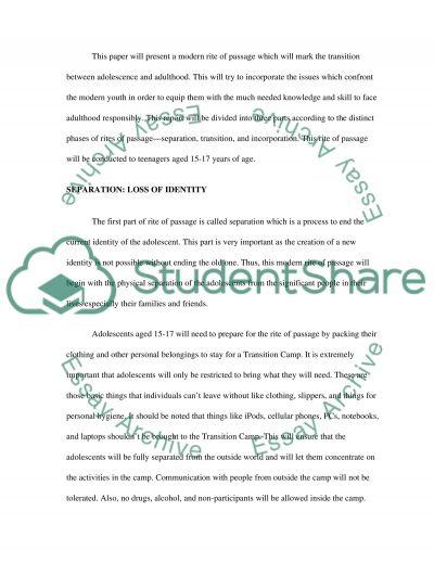 Rite of Passage essay example