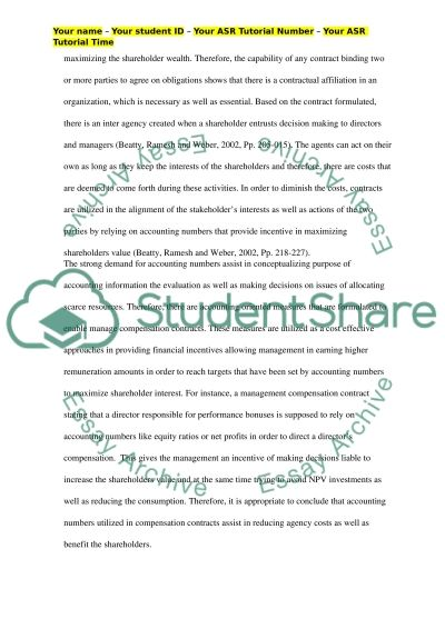 The usage of accounting numbers in management compensation contracts essay example