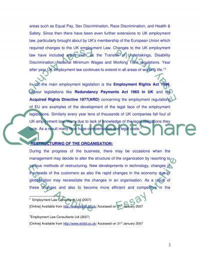 Employment Law College Essay Essay example