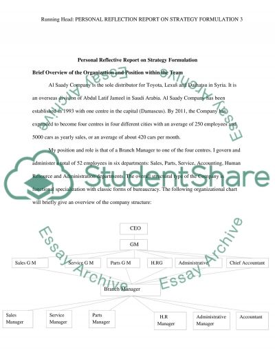 Personal Reflective Report on Strategy Formulation essay example