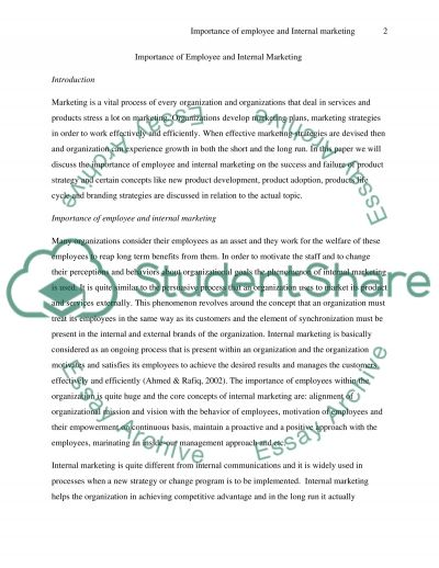 Importance of Employee and Internal Marketing essay example