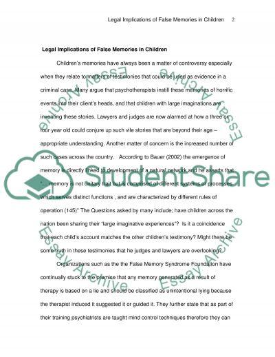 Legal Implications of False Memories in Children essay example