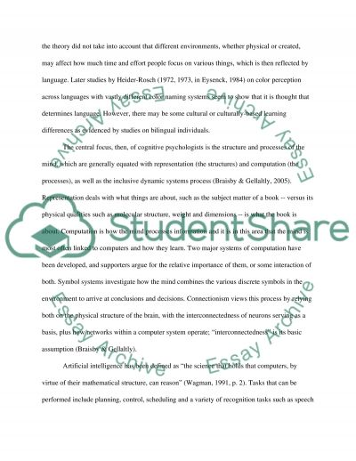 Cognitive Psychology College Essay essay example