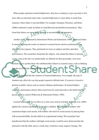 Learned helplessness essay example