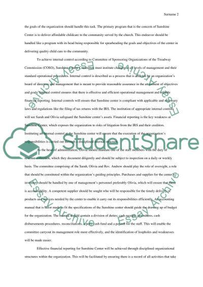Sunshine center essay example